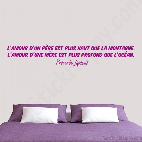 Stickers Déco Chambre : Proverbe Sur L'amour Des Parents