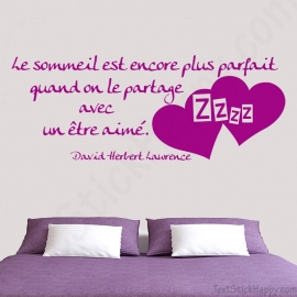 Stickers citation amour sommeil