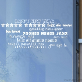 Stickers bonne année en plusieurs langues