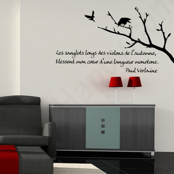 stickers d coration mur peint citation texte c l bre de verlaine. Black Bedroom Furniture Sets. Home Design Ideas