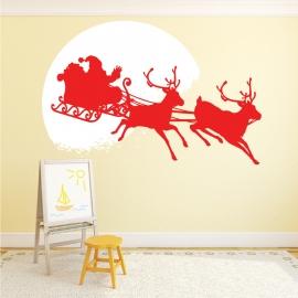 Adhésif Déco Noël - Père Noël devant la Lune