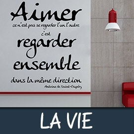 stickers citation sur la vie stickers citation pour la d co. Black Bedroom Furniture Sets. Home Design Ideas